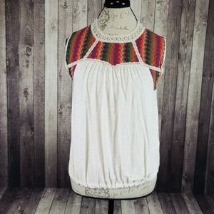 W5 Concepts multicolor embroidered sleeveless top